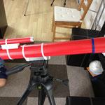 三脚はカメラ用のものを使いました。望遠鏡として使うには三脚が必須!