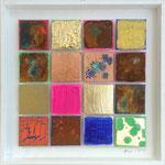 """""""Matrix #15"""", 2014, Acryl, Eisen, Kupfer, Schlagmetall """"Gold"""", Blattgold Oxidationsmittel und Metallbeizen auf Leinwand, 40 x 40 cm"""
