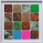 """Matrix #11"", 2012, Eisenpulver, Metallfolien, Oxidationsmittel, Acryl, Leinwand auf Karton, arrangiert, 40 x 40 cm"