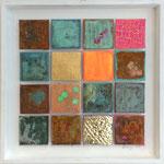 """""""Matrix #16"""", 2014, Acryl, Eisen, Kupfer, Schlagmetall """"Gold"""",Oxidationsmittel und Metallbeizen auf Leinwand, 40 x 40 cm"""