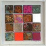 """""""Matrix #17"""", 2014, Acryl, Eisen, Kupfer, Silber, Aluminium,Oxidationsmittel und Metallbeizen auf Leinwand, 40 x 40 cm"""