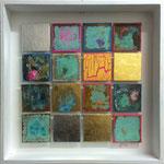 """""""Matrix #18"""", 2014, Acryl, Eisen, Kupfer, Gold, Schlagmetall """"Gold"""", Silber, Aluminium, Oxidationsmittel und Metallbeizen auf Leinwand, 40 x 40 cm"""