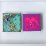 """Three Times a Lady"", 2012, Metallfolien, Blattgold, Oxidationsmittel, Acryl, Leinwand auf Karton, in einer Holzkiste arrangiert, 80 x 20 cm"