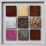 """""""Matrix #4"""", 2012, Metallfolien, Eisenpulver, Acryl, Strukturpaste, Oxidationsmittel, auf Leinwand, 30 x 30 cm"""