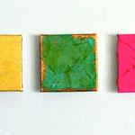 """Storyteller"", 2012, Metallfolien, Eisenpulver, Blattgold, Oxidationsmittel,  Acryl, Leinwand auf Karton, arrangiert, ca. 80 x 20 cm"