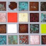 """""""Matrix #9"""", 2012, Metallfolien, Eisenpulver, Blattgold, Oxidationsmittel, Acryl, Lackfarben, Klebstoff, Leinwand auf Karton, auf Leinwand arrangiert, 120 x 40 cm"""