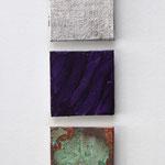 """""""Fünf Senkrecht"""", 2012, Acryl, Eisenpulver, Metallfolien, Oxidationsmittel auf Leinwand, 50 x 20 cm"""
