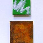 """""""Irland"""", 2012, Eisenpulver, Oxidationsmittel, Acryl, Leinwand auf Karton, arrangiert, 50 x 20 cm"""