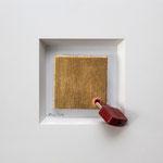 """""""Weihnachten 2012"""", 2012, Acryl, Blattgold, Schloss, Leinwand auf Karton, 10 x 10 cm"""