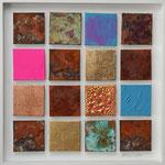 """""""Der Größere Gott"""", 2012, Acryl, Eisenpulver, Metallfolien, Strukturpaste, Oxidationsmittel, Leinwand auf Karton, arrangiert, 40 x 40 cm"""