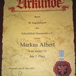 Markus Albert belegte den beachtlichen 3. Platz bei der Jugend U 14...
