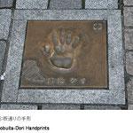 横須賀芸術劇場の裏手にあたるどぶ板通りには、横須賀にゆかりのある有名人の手形が石畳に埋め込まれています。