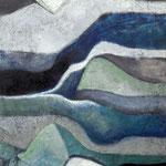 GARTENWÄCHTER 120 x 100  Beton,  Farbpigmente, Acryl auf Leinwand