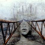 ZURÜCK IN DIE ZUKUNFT  100 vm x 150 cm Beton,  Farbpigmente, Acryl auf Leinwand
