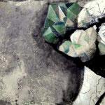 AUFBRUCHSTIMMUNG 100 cm x 150 cm Beton,  Farbpigmente, Acryl auf Leinwand
