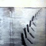 MARKIERTER SONNENAUFGANG 100 x 80  Beton,  Farbpigmente, Acryl auf Leinwand