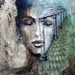 BELLEZZA ANTICA   100 cm x 80 cm  Beton,  Farbpigmente, Acryl auf Leinwand