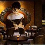 "Portrait of ""Adelita"" Monica Yepes (12 feet tall X 16 feet wide, Original Painting on Canvas) • The Izel Interior Mural/Paintings • Conrad Hilton Hotel, Dubai  UAE"