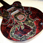 "'Yepes Signature' Custom ""Chingon Scorpion"" Guitar (in progress) at Studio .357 Blue Star, Big Tex Grain Mills, San Antonio, Texas  USA (Robert Rodriguez Collection)."