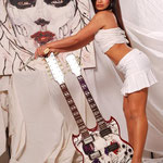 "Cristina Mendoza, Model, with 'Yepes Signature' Gibson Custom ""Calavera Muse"" Double-Neck Guitar (Prototype Pick Guard in progress) at 740 South Olive Street Studio, Los Angeles, California  USA"