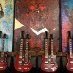 'Yepes Signature' Gibson Custom Double-Neck Guitars at Studio .357 Blue Star, Big Tex Grain Mills, San Antonio, Texas  USA