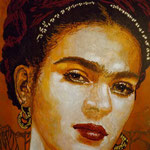 "(detail in progress) Portrait of ""Frida Kahlo"" • 24 Carat Gold Leaf details on Earrings and Necklace, (12 feet tall X 10 feet wide, Original Painting on Canvas) • The Izel Interior Mural/Paintings • Conrad Hilton Hotel, Dubai  UAE"