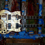 "'Yepes Signature' Gibson Custom ""Salma Hayek: Lady of the Butterflies"" Double-Neck Guitar (in progress) at Studio .357 Blue Star, Big Tex Grain Mills, San Antonio, Texas  USA (Robert Rodriguez Collection)."