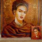 "(in progress) Portrait of ""Frida Kahlo"" • 24 Carat Gold Leaf details on Earrings and Necklace, (12 feet tall X 10 feet wide, Original Painting on Canvas) • The Izel Interior Mural/Paintings • Conrad Hilton Hotel, Dubai  UAE"