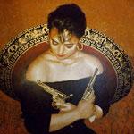 "(in progress) Portrait of ""Adelita"" Monica Yepes (12 feet tall X 16 feet wide, Original Painting on Canvas) • The Izel Interior Mural/Paintings • Conrad Hilton Hotel, Dubai  UAE"