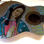 "'Yepes Signature' Epiphone ""Virgen de Guadalupe"" Custom Acoustic Guitar (in progress) at Studio .357 Blue Star, Big Tex Grain Mills, San Antonio, Texas  USA  (Robert Rodriguez Collection)."