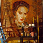 "(detail in progress) Portrait of Asabi Quintana as ""Frida Kahlo"" (12 feet tall X 10 feet wide, Original Painting on Canvas) • The Izel Interior Mural/Paintings • Conrad Hilton Hotel, Dubai  UAE"