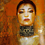 "(detail in progress) Portrait of ""Little Red"" Lisa Martinez • 24 Carat Gold Leaf embroidery details on Choker Necklace, (12 feet tall X 10 feet wide, Original Painting on Canvas) • The Izel Interior Mural/Paintings • Conrad Hilton Hotel, Dubai  UAE"