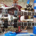 "'Yepes Signature' Gibson Custom ""Shotgun Messenger"" Double-Neck Guitar (in progress) at Studio .357 Blue Star, Big Tex Grain Mills, San Antonio, Texas  USA (Robert Rodriguez Collection)."