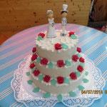 Hochzeitstorte mit weißem Marzipan 1