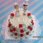 Hochzeitstorte mit weißem Marzipan 3
