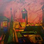 "ART HFrei - ""Stadt im Abendrot"" - Öl - 2008"
