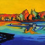 Seine-Port vue de la Seine 30X40