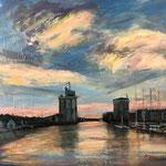 Port of La Rochelle, 2017. 29 x 23.5 in. Acrylic paint on canvas. #17PA173L