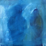 Two in the Blue, 1997. 24 x 24 in. Oil paint on canvas. #97PA186AB