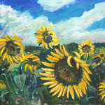 Field of Sunflowers, 2016. 34 x 30 in. Acrylic paint on canvas. #16PA093L