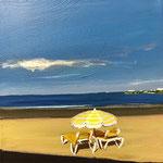 Petite Plage de Royan, 2017. 7.75 x 7.75 x 1.50 in. Acrylic paint on canvas. #17PA171L