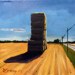 Hay Stack at St. Jean, 2017. 7.75 x 7.75 x 1.50 in. Acrylic paint on canvas. #17PA174L