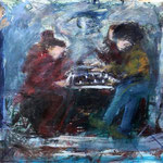 Street Chess, 1989. 50 x 38 in. Oil paint on rag paper. #89PA058F
