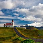 Ingjaldsholskirkja with Snæfellsjökull, Iceland