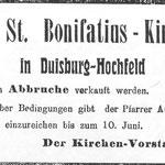 Anzeige für den Abbruch der alten Kirche