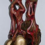 """MARCELINO / """"Dé-composition"""" / Bois et acrylique H.70 cm"""