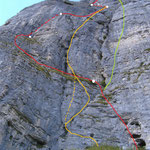 rot:Südwand; gelb: Lockvogel mit Variante; grün: ungefährer Verlauf 'Adventpfeiler'