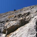 Steile Kletterei in der 11. SL