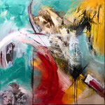 """Begegnungen 3"" 80x80 mixed media on canvas"