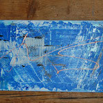 """Blau"", Acryl/Collage, 40x120 sold"